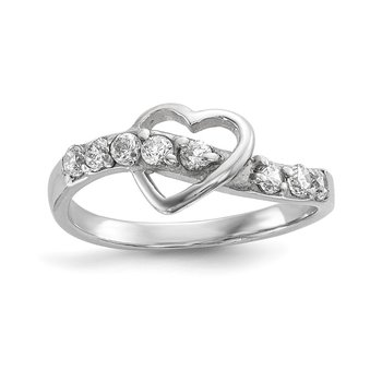 Sterling Silver Rhodium-plated Polished w/CZ Heart Ring