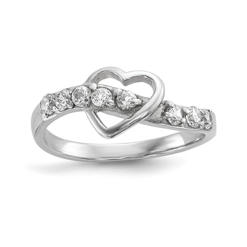 Quality Gold Sterling Silver Rhodium-plated Polished w/CZ Heart Ring