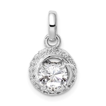 Sterling Silver Rhodium-plated 6mm CZ Swirl Pendant