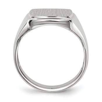 14k White Gold 15.0x13.0mm Open Back Mens Signet Ring