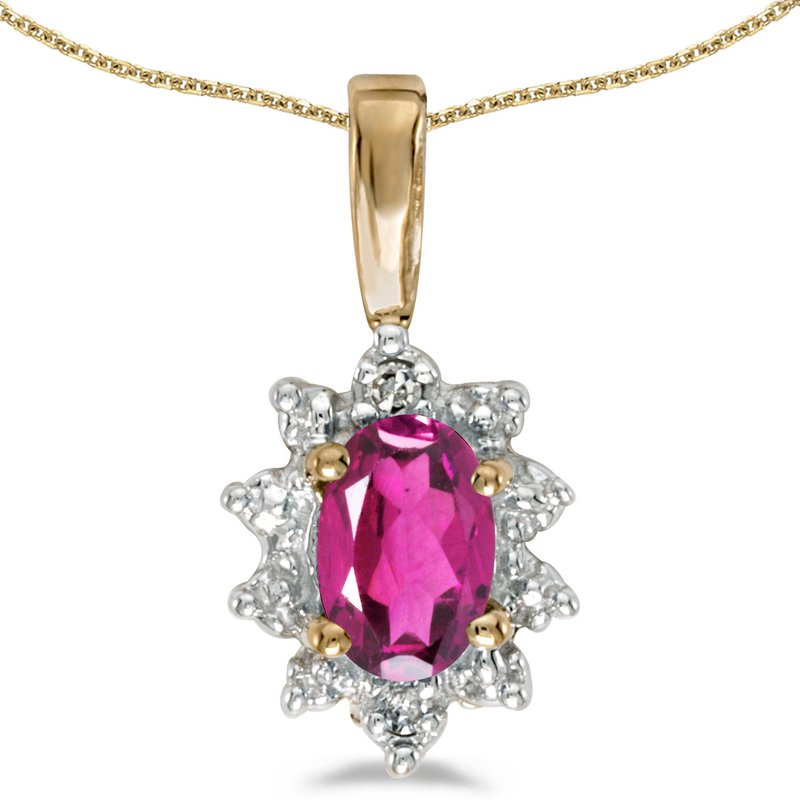Color Merchants 14k Yellow Gold Oval Pink Topaz And Diamond Pendant