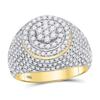 10kt Yellow Gold Mens Round Diamond Flower Cluster Ring 2.00 Cttw