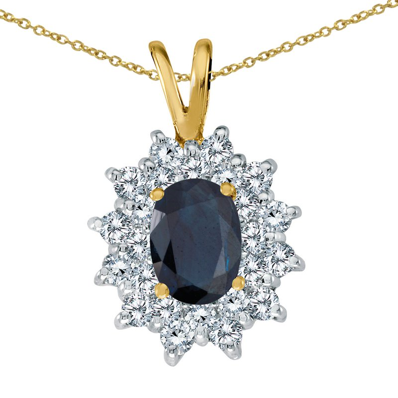 Color Merchants 14k Yellow Gold Sapphire Oval Pendant with Diamonds