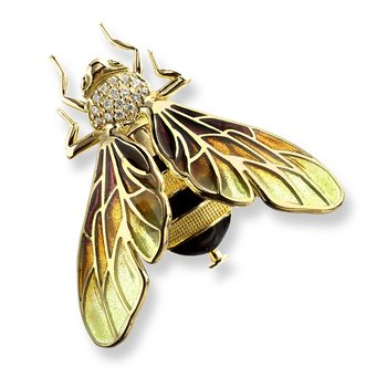 Yellow Bee Brooch.18K -Diamonds - Plique-a-Jour