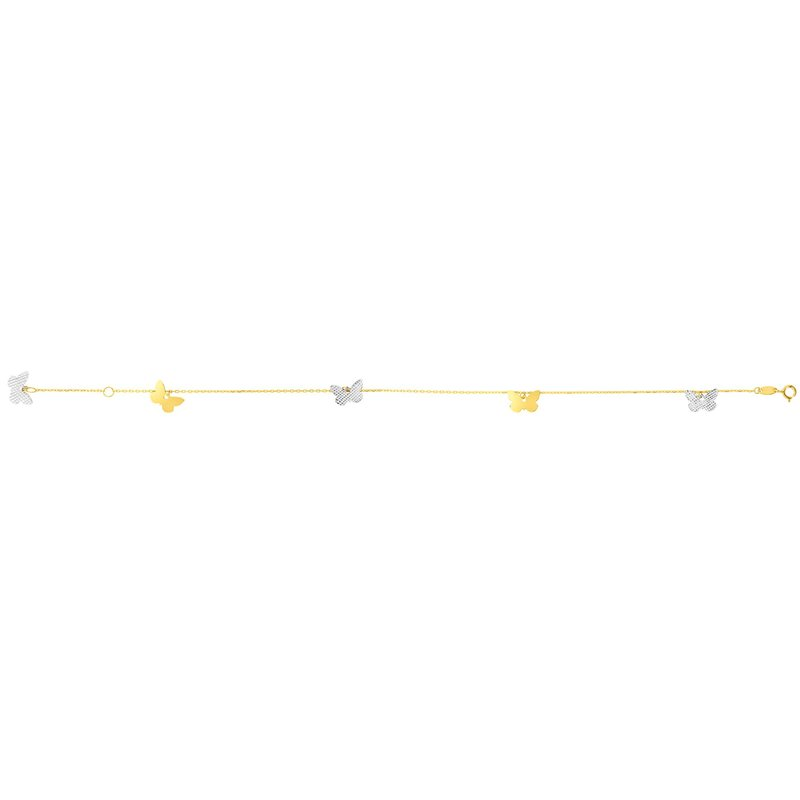 Royal Chain 14K Two-tone Gold Butterfly Anklet