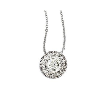 14K White Gold .68 Ct Round Diamond Bezel Pendant
