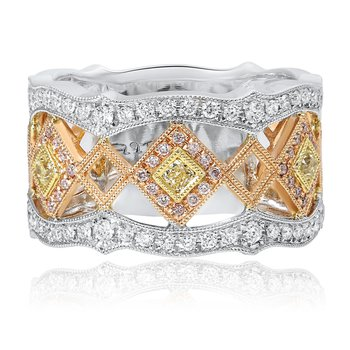Tri-Colored Geometric Diamond Ring