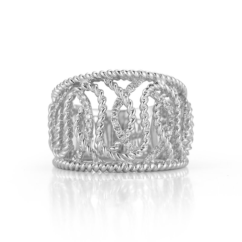 Shula NY Sterling Silver and Diamond Swirl Ring.