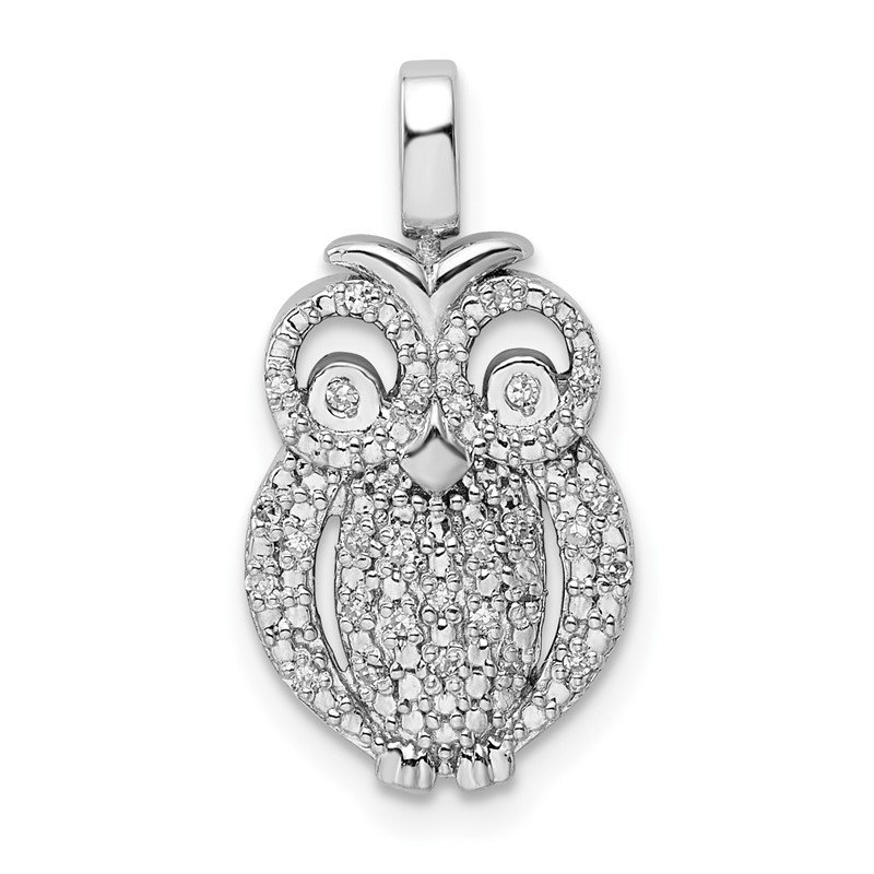 Quality Gold Sterling Silver Rhodium 0.2ct. Blk & Wht Dia. Reversible Owl Pendant