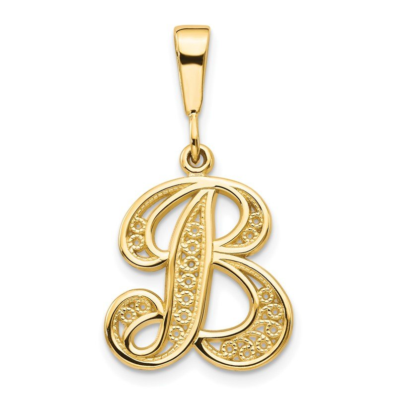 Quality Gold 14KY Polished Script Filigree Letter B Initial Pendant