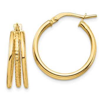 14k Polished & Textured Small 3 Hoop Earrings