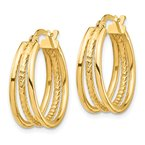 Quality Gold 14k Polished & Textured Small 3 Hoop Earrings