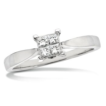 Invisible set Princess cut Diamond Solitaire Engagement ring in 14k White Gold (1/5ct. tw.)