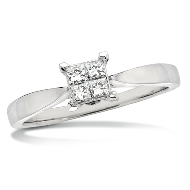 SDC Creations Invisible set Princess cut Diamond Solitaire Engagement ring in 14k White Gold (1/5ct. tw.)