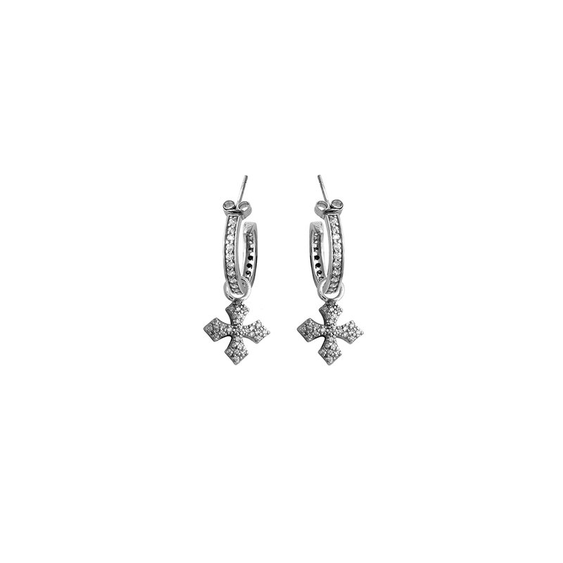 King Baby Small Hoops With Mb Drop - Silver And White Cz Pave
