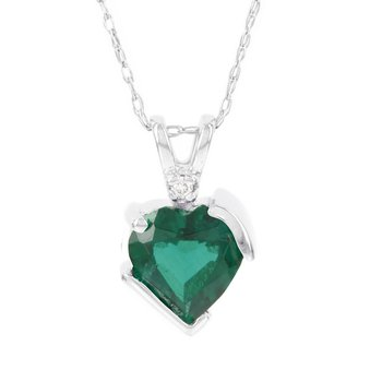 10k White Gold Created Emerald and Diamond Accent Heart Pendant