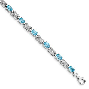 Sterling Silver Rhodium-plated Blue Topaz Bracelet
