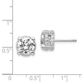 Cheryl M Sterling Silver Rhodium Plated 8mm CZ Stud Earrings
