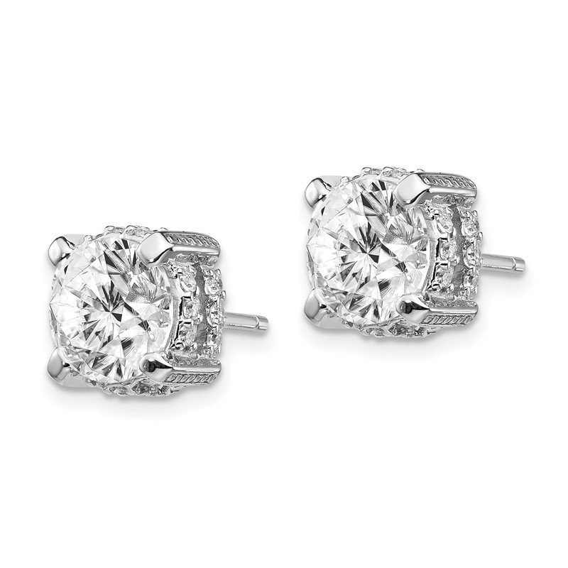 Cheryl M Cheryl M Sterling Silver Rhodium Plated 8mm CZ Stud Earrings