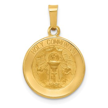 14k Polished and Satin Holy Communion Medal Hollow Pendant