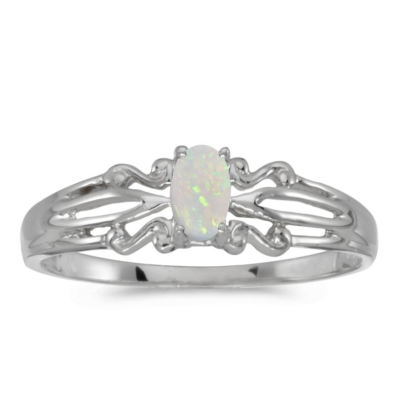 Color Merchants 10k White Gold Oval Opal Ring