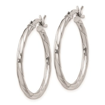 Sterling Silver Rhodium Plated 2x25mm Twisted Hoop Earrings