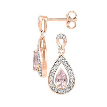 10kt Rose Gold Womens Pear Lab-Created Morganite Diamond Dangle Earrings 1/2 Cttw