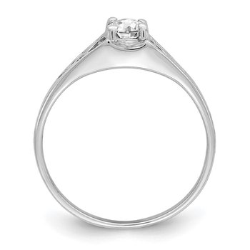 14k White Gold 6x4mm Oval Cubic Zirconia ring