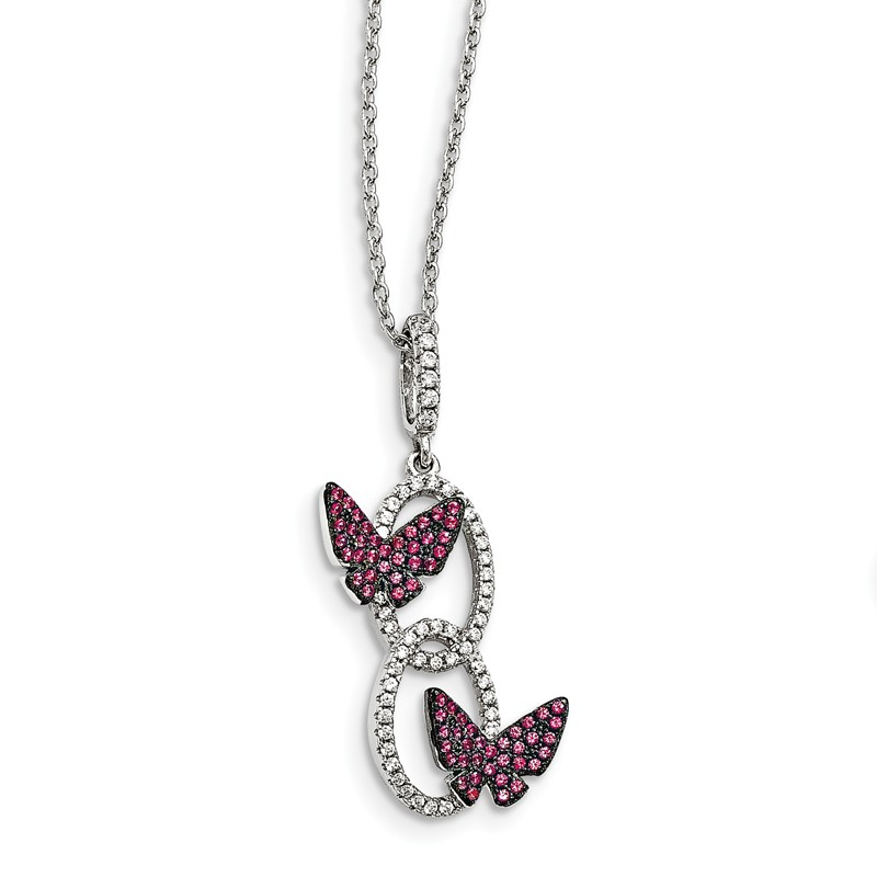 Jewelry Necklaces Necklace with Pendants Sterling Silver and CZ Brilliant Embers Pink Heart Necklace