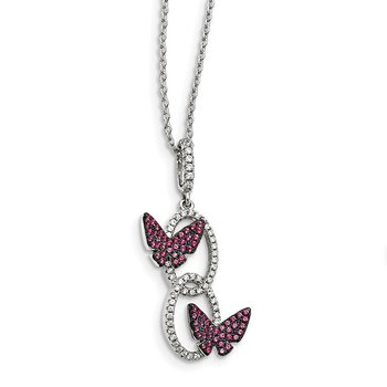 Brilliant Embers Sterling Silver RH-plated Red CZ Butterfly 18in Necklace