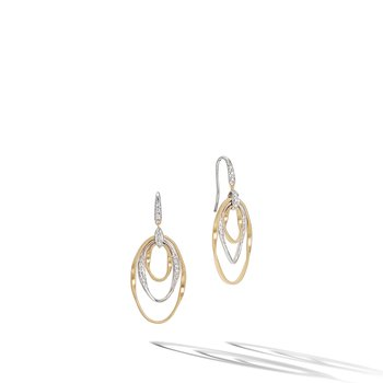 Marrakech Onde Collection Yellow Gold and Diamond Small Concentric Earrings