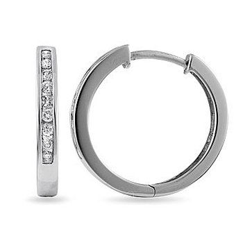 14K WG Diamond Hoops and Huggies Earring with safe clasp