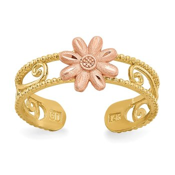 14k Two-tone Flower Toe Ring