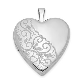 Sterling Silver Rhodium-plated 20mm Swirl & Polished Heart Locket