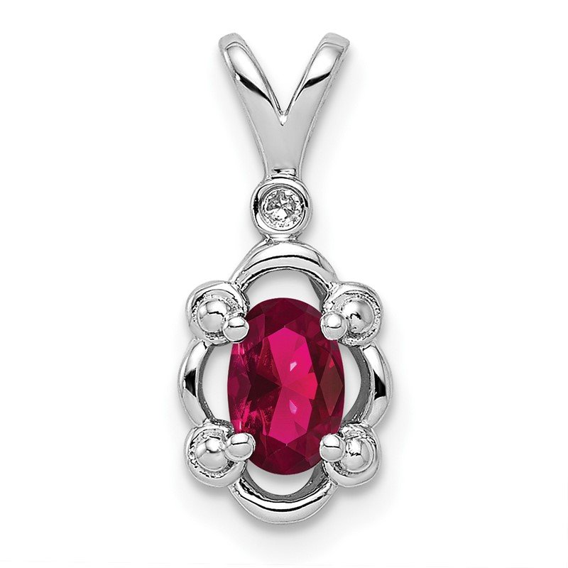 J.F. Kruse Signature Collection Sterling Silver Rhodium-plated Created Ruby & Diam. Pendant