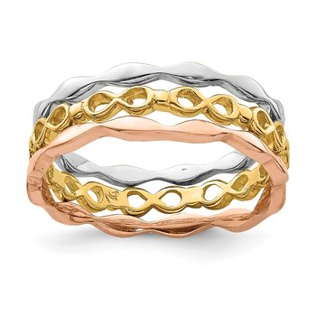 14K Yellow, White & Rose Gold Set of 3 Stackable Rings