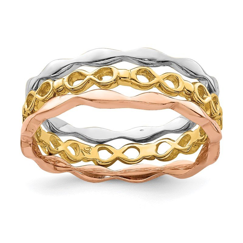 Quality Gold 14K Yellow, White & Rose Gold Set of 3 Stackable Rings