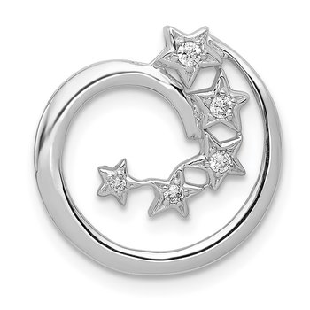 14k White Gold Diamond Stars Chain Slide