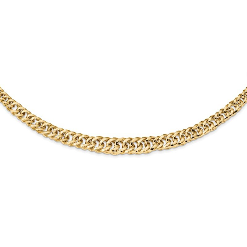 Quality Gold 14k Polished Fancy Graduated Curb Chain Necklace