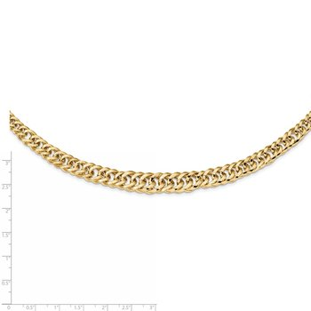 14k Polished Fancy Graduated Curb Chain Necklace