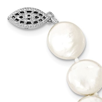 Sterling Silver Rhodium-plated 10-11mm White FWC Coin Pearl Necklace