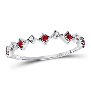 10kt White Gold Womens Round Ruby Diamond Milgrain Square Stackable Band Ring 1/8 Cttw