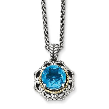 Sterling Silver w/14k Antiqued Blue Topaz and Diamond Necklace