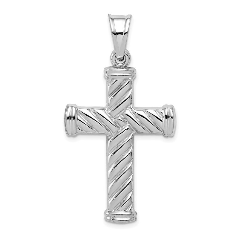 Quality Gold Sterling Silver Rhodium-plated Hollow Latin Cross Pendant