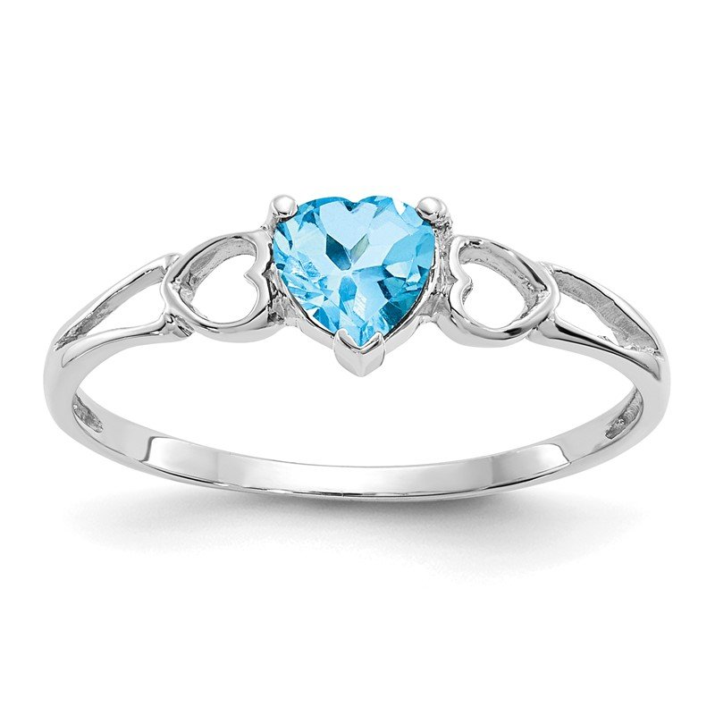 Quality Gold 10k White Gold Polished Geniune Blue Topaz Birthstone Ring