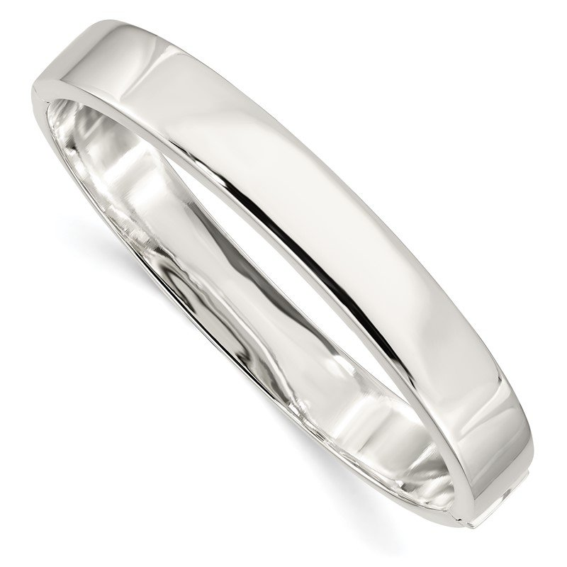Quality Gold Sterling Silver 9.75mm Hinged Bangle