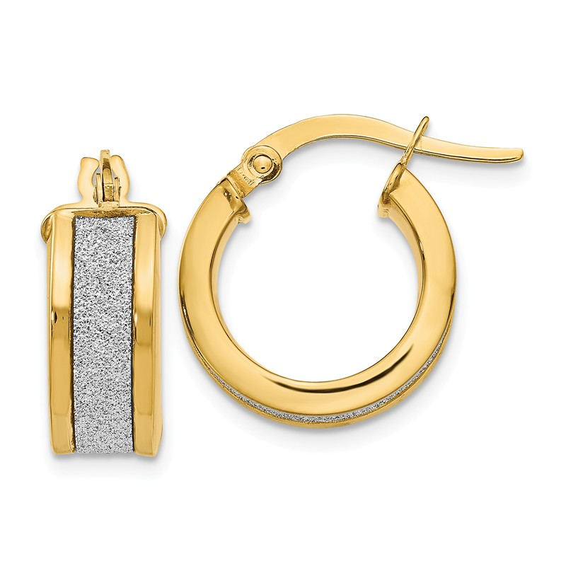 Leslies Real 14kt Tri-color Polished and Brushed Fancy Hoop Earrings