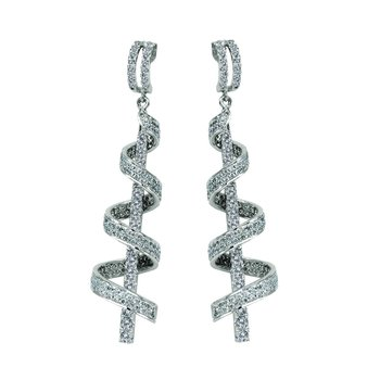 14k White Gold Diamond Swirl Earrings
