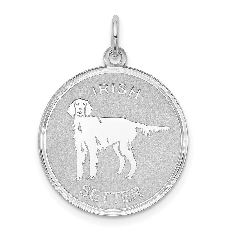 Quality Gold Sterling Silver Rhodium-plated Irish Setter Disc Charm