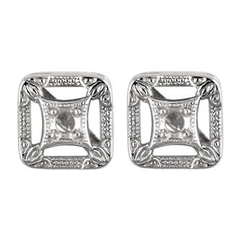14K White Filigree Earring Mountings